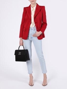 Red single button blazer