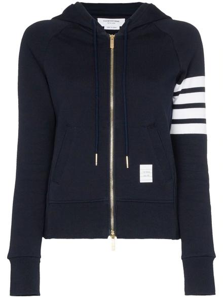 Thom Browne 4 Bar Stripe Zip Hoodie Navy