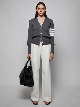 Classic v-neck cotton cardigan MEDIUM GREY