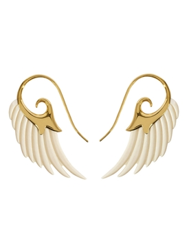 Gold and Ivory Fly Me To The Moon Earrings