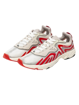 Low-Top Mesh Panel Sneakers RED/WHITE