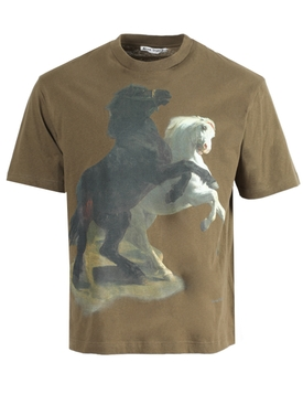 Horse Print Crew-neck T-shirt HUNTER GREEN