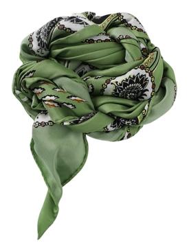 Silk Paisley Print Scarf GREEN