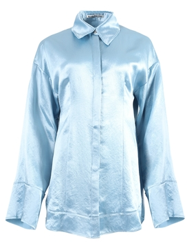 Light Blue Button-Down Satin Shirt