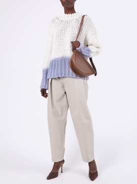 Ombré Dip Dye Knit Sweater WHITE/ BLUE