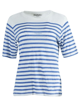 LINEN BLUE STRIPE T-SHIRT