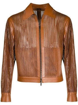 Brown Perforated Leather Jacket
