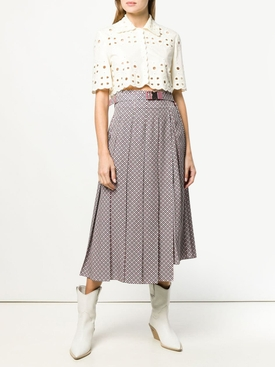 belted pleated skirt PINK