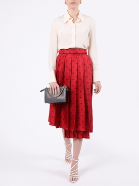 Pleated FF Logo Skirt RED BAROQUE