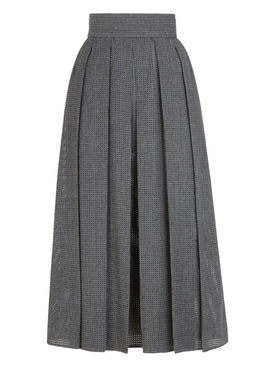 Grey flannel mesh wool midi skirt