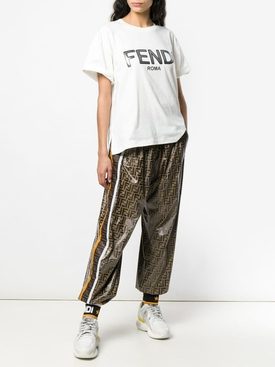 logo print shiny track pants
