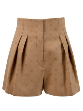 KARLIGRAPHY HIGH-WAISTED FLANNEL SHORTS BEIGE