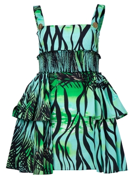 Fausto Puglisi - Green Foliage Tiered Mini Dress - Women