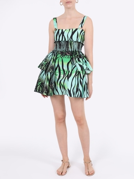 Green Foliage Tiered Mini Dress