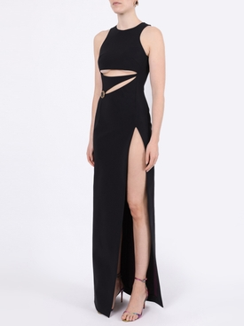 Black cut-out stud embellished gown