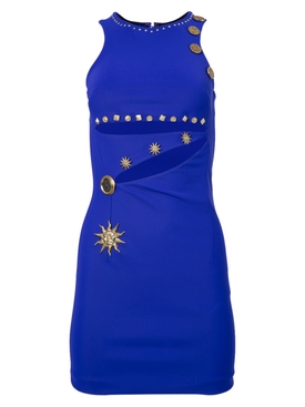 Fausto Puglisi - Blue Embellished Cut-out Bodycon Mini Dress - Women