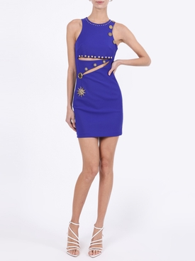 Blue Embellished Cut-Out Bodycon Mini Dress