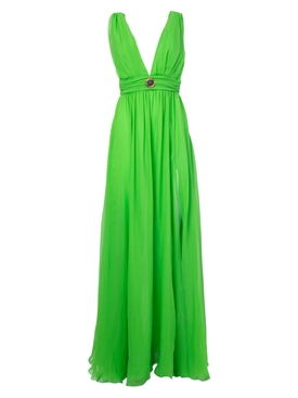 Fausto Puglisi - Green Silk Sun Medallion Detail Gown - Women
