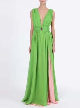 Green silk sun medallion detail gown