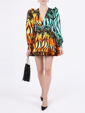 Multicolored ruffed mini dress