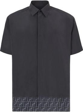 Black gradient logo trim silk shirt