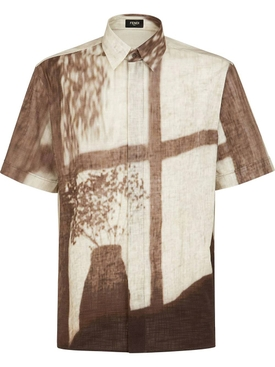 Sunset print short-sleeve bowling shirt, travertino