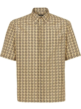 Oversized FF Print Short-sleeve Shirt, Bamboo