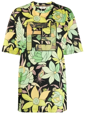 Green Floral Print Logo T-shirt