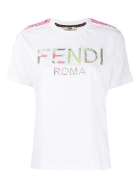 White Floral Logo Print T-shirt