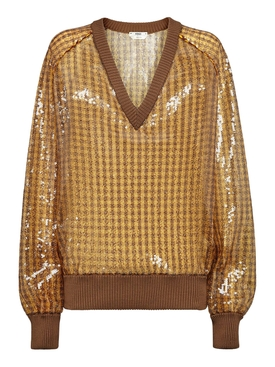 Sequined Checkered V-neck Sweater