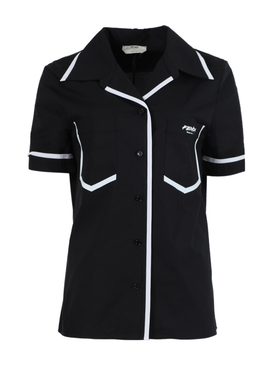 Black and white trim short-sleeve shirt