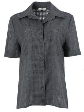 Grey perforated wool short-sleeve shirt