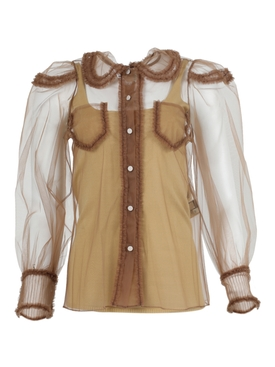 Sheer Tulle blouse BANJO BROWN