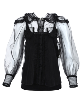 Sheer Tulle blouse BLACK