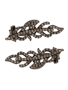 BLACK AND BROWN DIAMOND FEATHER EARCUFFS PAIR