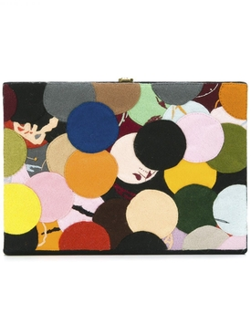 x Bernard Frize dotted felt patch book clutch