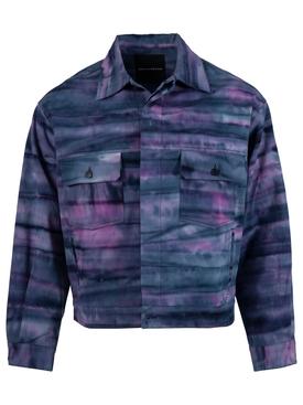 X Nick Farhi Cropped Oversized Leather Jacket, Bathers Purple