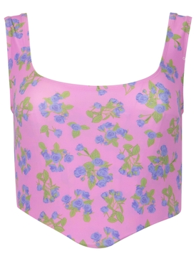 FLORAL PRINT STRETCH JERSEY CORSET TOP PINK