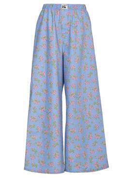 FLORAL PRINT PAJAMA PANTS BLUE