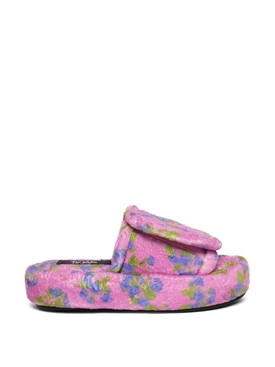 TERRY FLORAL PRINTED VOLUME SLIPPERS PINK