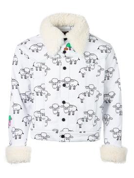 DUO SHEEP PRINT DENIM JACKET WHITE