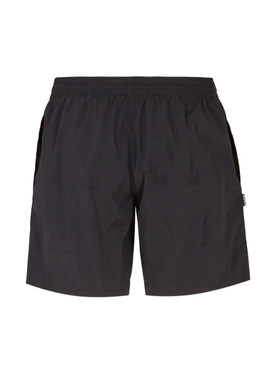 Black drawstring swim trunks
