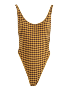 Yellow and Black Gingham Print Swimsuit