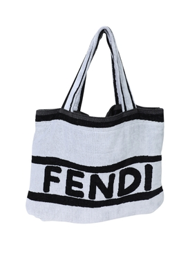 Black and white Logo Towel Tote Bag
