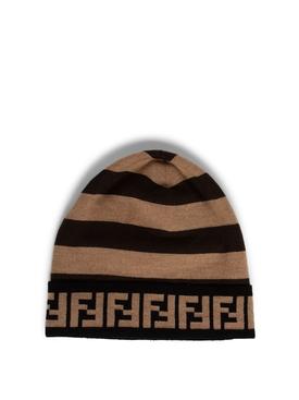 Wool FF Logo Beanie Brown and Black
