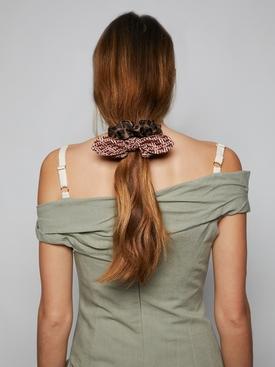 FF Logo Print Silk Elastic Scrunchies Brown