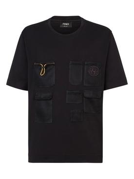 Oversized Mesh Pocket T-shirt Black