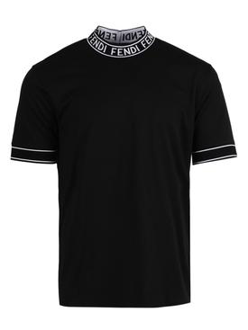 Logo tape cotton t-shirt NERO BLACK