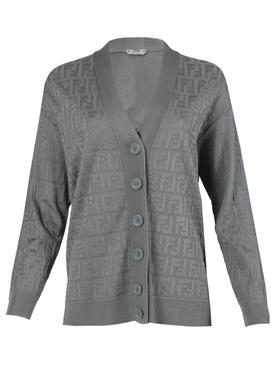 Grey FF logo print cardigan