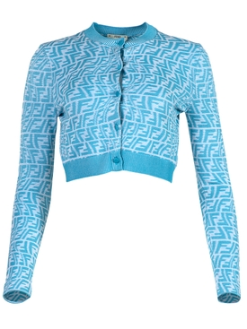 X Sarah Coleman Vertigo Logo Cardigan Blue